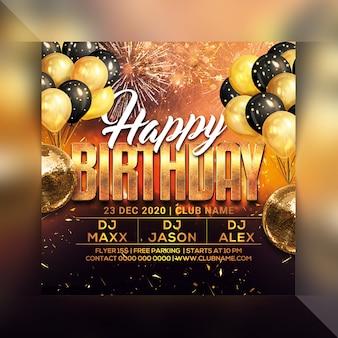 Happy birthday party flyer sjabloon