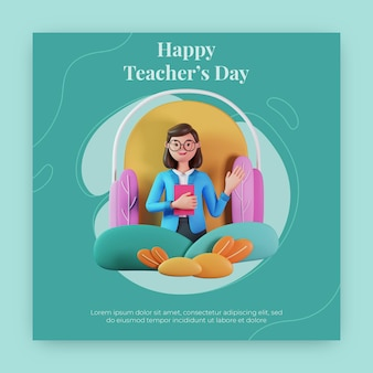 Happy docenten dag instagram post met 3d render karakter