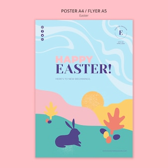 Happy easter day flyer-sjabloon