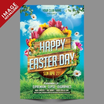 Happy easter day poster sjabloon