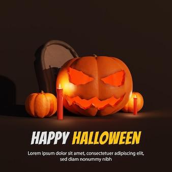 Happy halloween 3d achtergrond met pompoen
