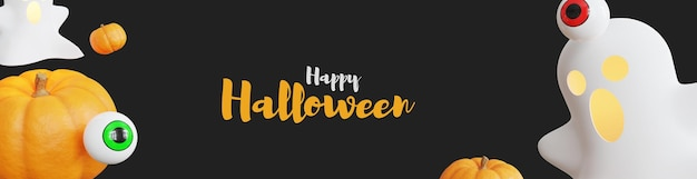 Happy halloween 3d banner met pompoen