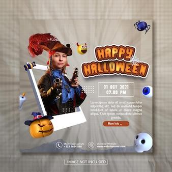 Happy halloween social media banner template met 3d object rendering premium psd