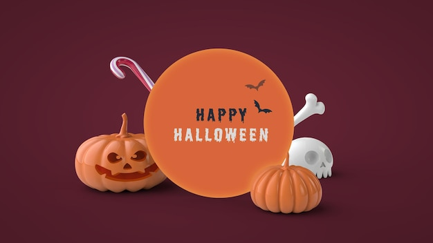 Happy halloween-wenskaart psd-sjabloon 3d render