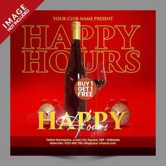 Happy hours voor restaurant café bar social media post of flyer promotie sjabloon premium psd