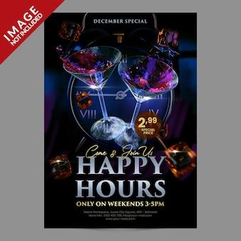 Happy hours voor restaurant café bar social media post of flyer promotie sjabloon