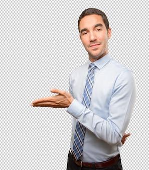 Happy jonge zakenman verwelkomen