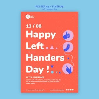 Happy left handers day poster sjabloon