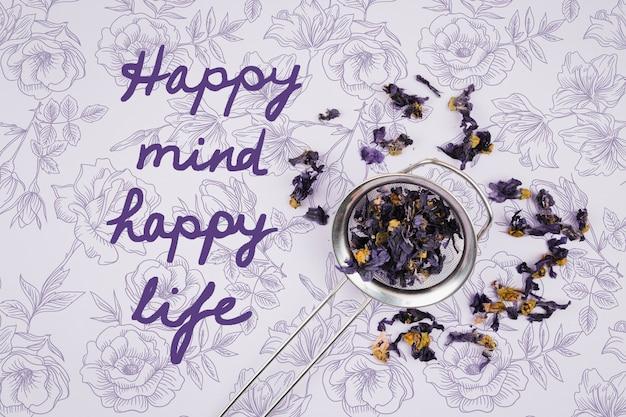 Happy mind gelukkig leven citaat mock-up