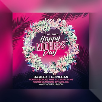 Happy mothers day party flyer