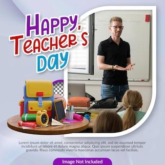 Happy teacher day social media banner template met 3d illustratie premium ps