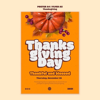 Happy thanksgiving day verticale afdruksjabloon