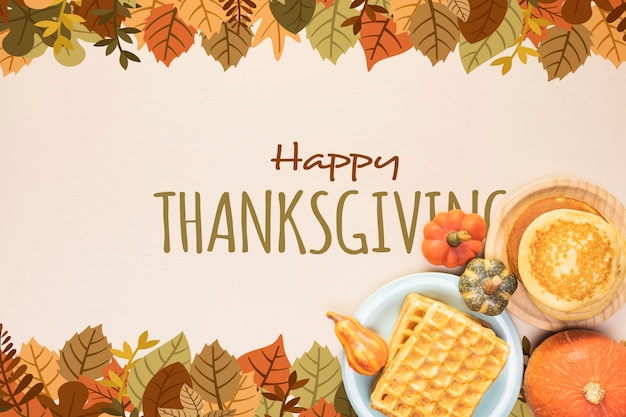 Happy thanksgiving frame van gedroogde bladeren