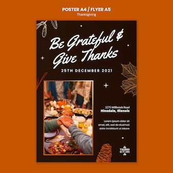 Happy thanksgiving verticale afdruksjabloon