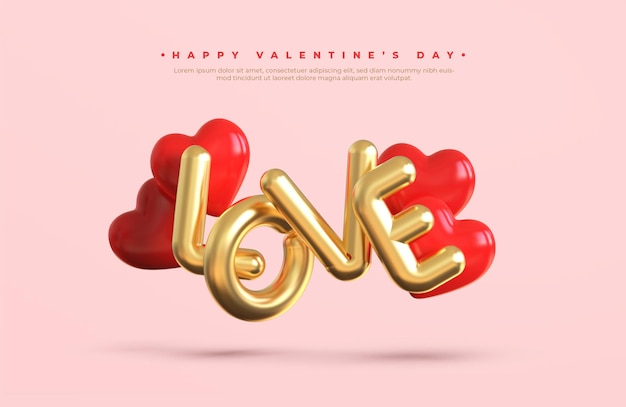 Happy valentijnsdag banner met 3d gouden metalen tekst