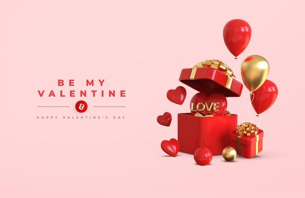 Happy valentijnsdag bannermodel met 3d-romantische creatieve compositie