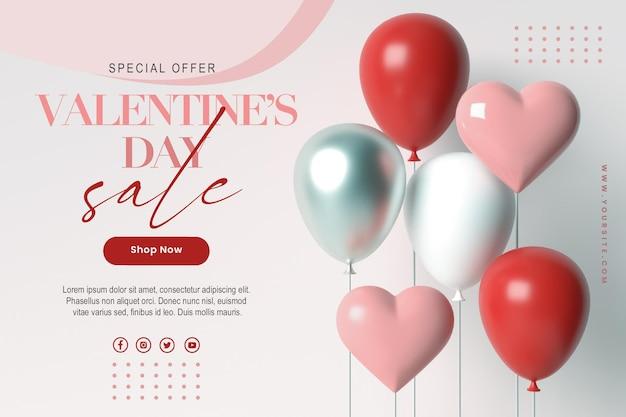 Happy valentijnsdag verkoop sjabloon voor spandoek