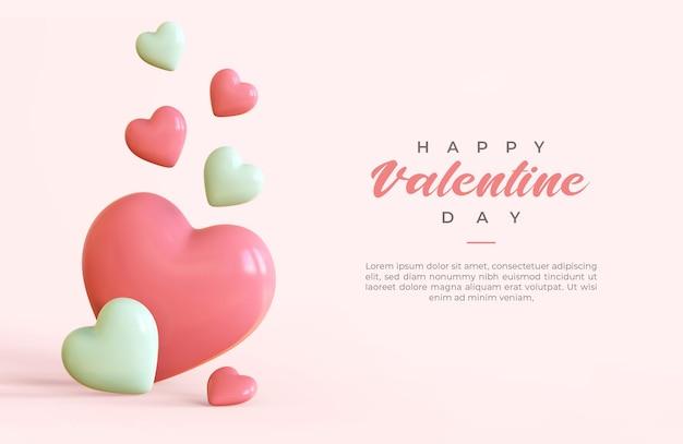 Happy valentine day banner met 3d-objecten rendering