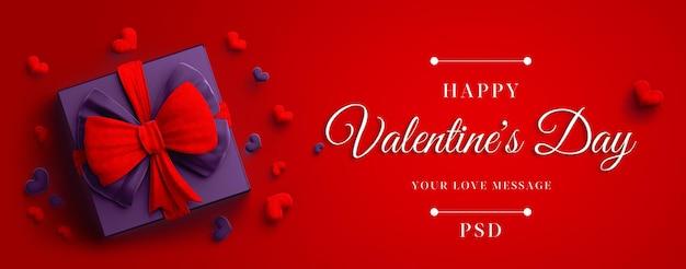 Happy valentine day banner mockup met cadeau