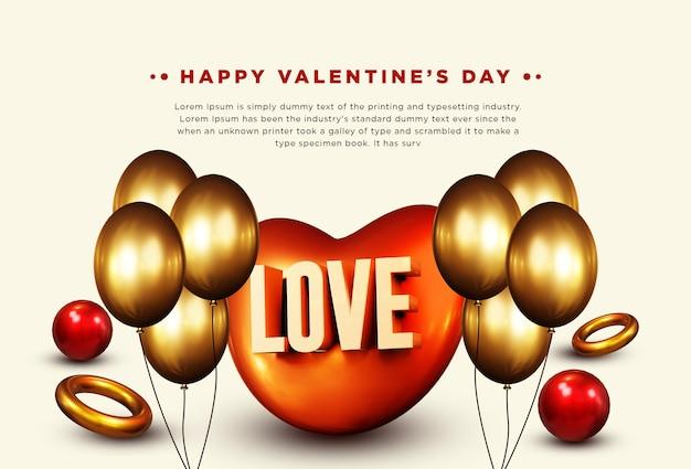 Happy valentine's day 3d-rendering geïsoleerd
