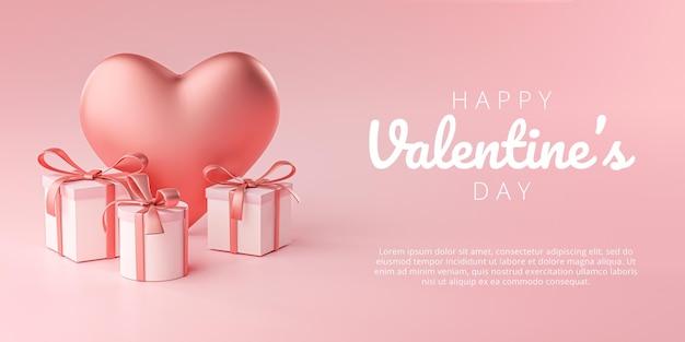 Happy valentine's day banner wenskaart groot hart vorm en geschenkdoos 3d-rendering