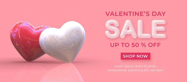 Happy valentine's day verkoop banner