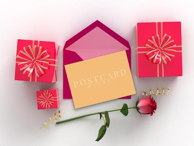 Happy valentines day celebration gift box met kaartmodel