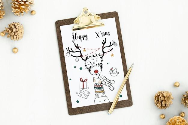 Happy xmas christmas card mockup