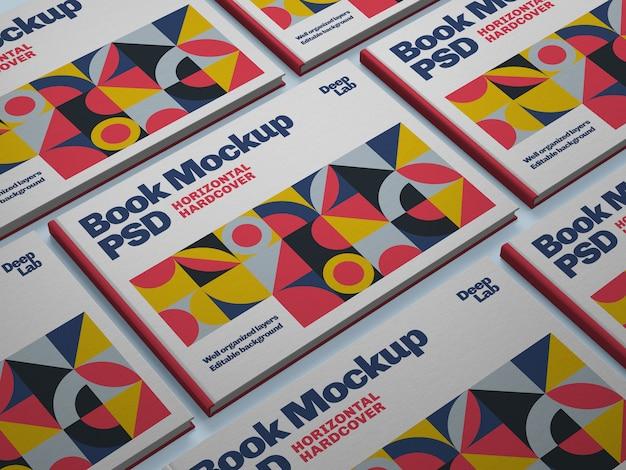 Hardcover horizontaal boek met bewerkbaar achtergrondkleurmodel