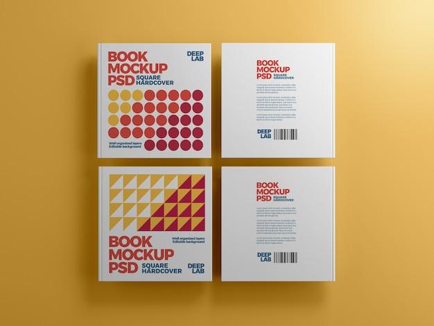 Hardcover vierkant boek met bewerkbaar achtergrondkleurmodel