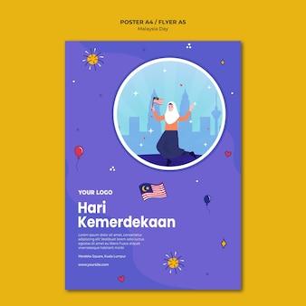 Hari kemerdekaan maleisische onafhankelijkheid poster sjabloon