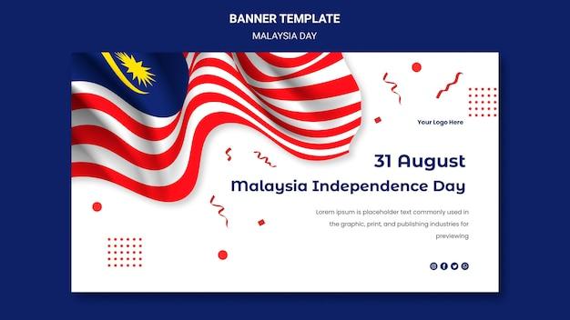 Hari merdeka maleisische onafhankelijkheid banner websjabloon
