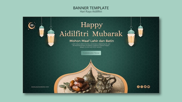 Hari raya aidilfitri concept sjabloon voor spandoek