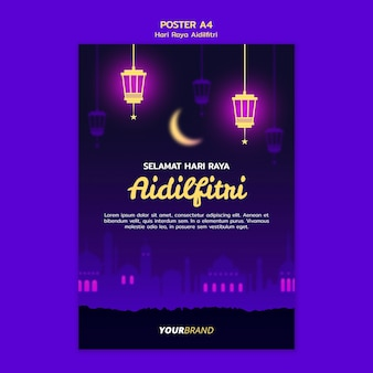 Hari raya aidilfitri poster sjabloon met maan en lantaarns