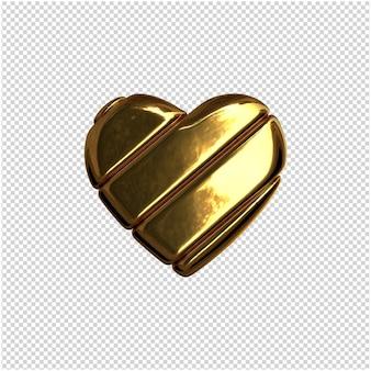 Hart gemaakt van goud 3d-rendering