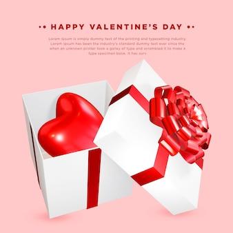 Hart in de giftbox valentijnsdag achtergrond