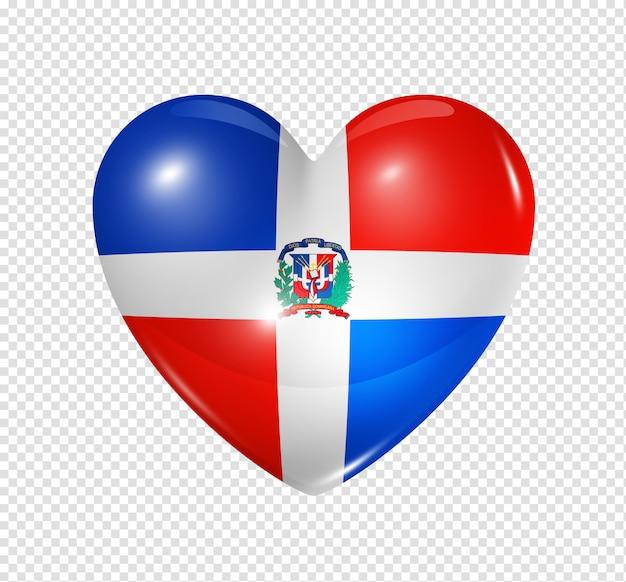 Hartpictogram met vlag van dominicaanse republiek