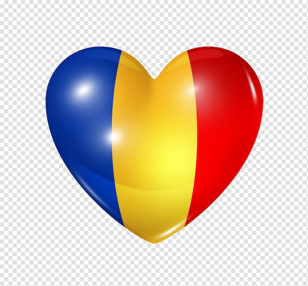 Hartpictogram met vlag van tsjaad
