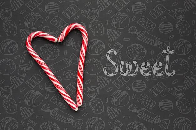Hartvorm gemaakt van snoepjes