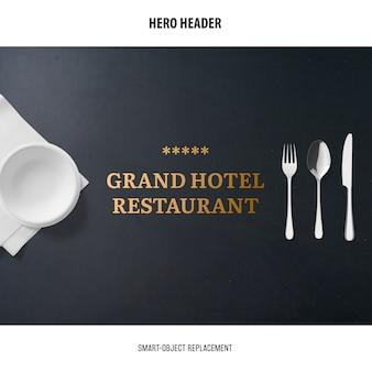 Header restaurant mockup.