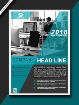 Headline flyer blue modern bussiness brochure - a3-formaat