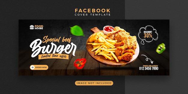 Heerlijk eten menu facebook omslagsjabloon Premium Psd