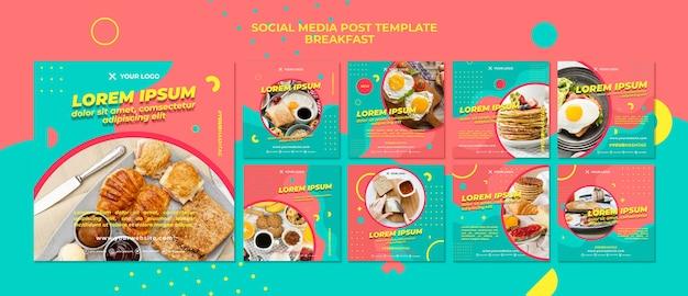 Heerlijk ontbijt social media postsjabloon