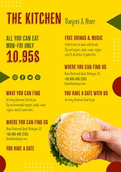 Heerlijke amerikaanse hamburger menusjabloon