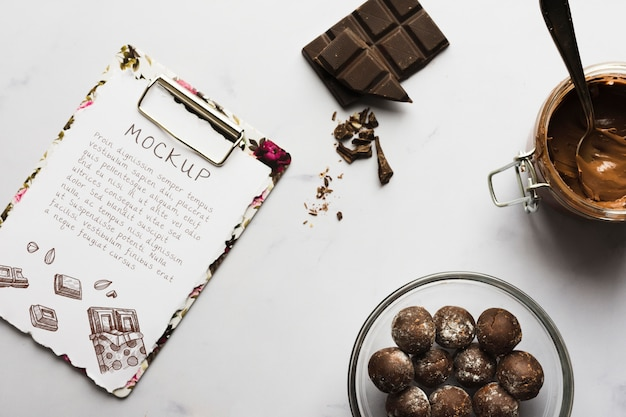 Heerlijke chocolade concept mock-up