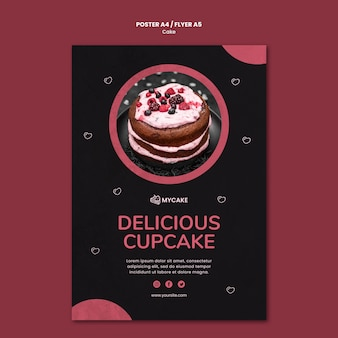 Heerlijke cupcake poster sjabloon