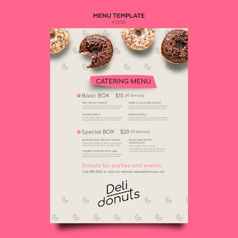 Heerlijke donuts menusjabloon