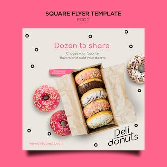 Heerlijke donuts vierkante flyer