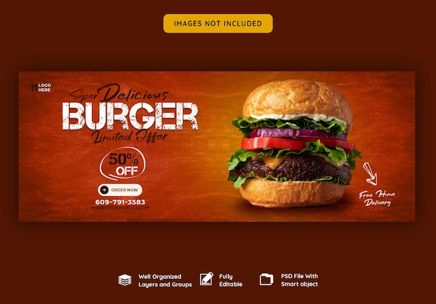 Heerlijke hamburger en eten menu facebook omslagsjabloon