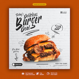 Heerlijke hamburger en eten menu sociale media-sjabloon voor spandoek